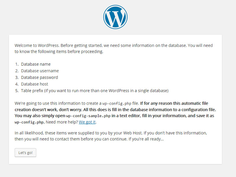 first-step-wordpress-install